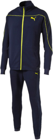 Спортивный костюм мужской Puma Style Best Suit, цвет: синий. 83860306. Размер S (44/46)838603_06Спортивный костюм Puma Style Best Suit из хлопка и полиэстера отлично подходит для тренировок и пробежек на свежем воздухе. Куртка декорирована логотипом Puma, нанесенным методом пигментной печати, а детали фирменного кроя рукавов подчеркнуты декоративной тесьмой. Пояс посажен на эластичную жаккардовую тесьму с символикой Puma, а манжеты отделаны трикотажем в рубчик.Брюки также декорированы логотипом Puma, нанесенным методом пигментной печати, и фирменными лампасами, а пояс и манжеты внизу штанин отделаны эластичной жаккардовой тесьмой с символикой Puma. Также брюки имеют заднюю кокетку, обеспечивающую идеальную посадку по фигуре.