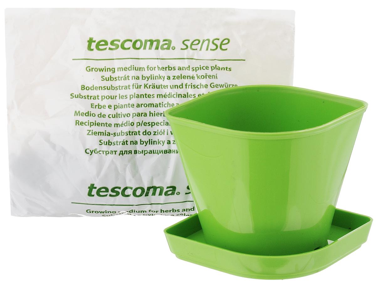 Набор для выращивания пряных растений Tescoma Кресс-салат, 4 предмета899076Набор Tescoma Кресс-салат идеально подходит для выращивания трав в домашних условиях. Комплект включает в себя семена, органический субстрат и горшок, выполненный из прочного пластика. Инструкция по применению внутри пакета. Пластиковый горшок имеет такую форму, что его можно вставить в уже продаваемые декоративные керамические горшки для пряностей Tescoma Sense, благодаря чему весь продукт станет отличным эстетическим украшением любой кухни.Размер горшка: 11 х 9 х 8 см. Размер поддона: 12,5 х 9,5 х 1,5 см.