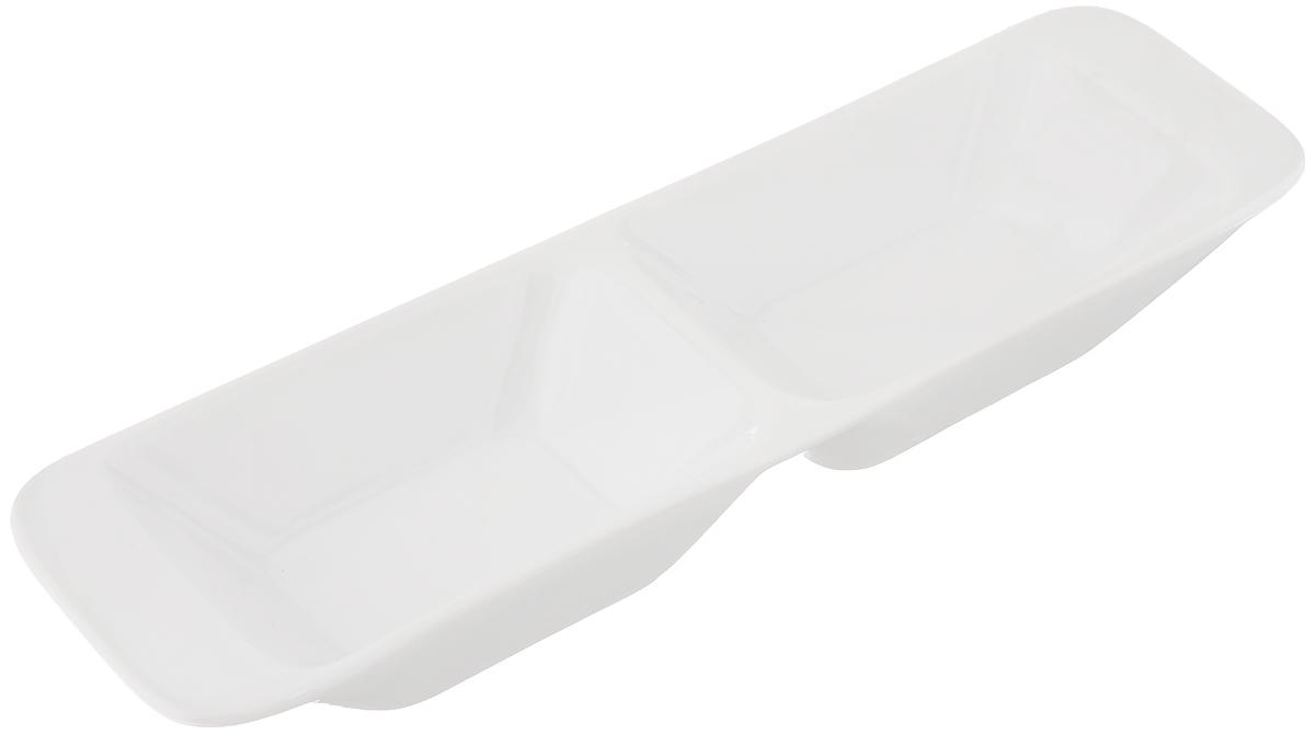 Миска продольная Tescoma Gustito, две секции, 24x7см386022Миска продольная Tescoma Gustito изготовлена из первоклассного фарфора Замечательна для стильной сервировки дрессингов, соусов, салатов, компотов, оливок, фруктов, овощей, суши, канапе, закусок, фондю и других блюд. Миска устойчива к температурам от - 18 °C до + 200 °C. Ее можно использовать в микроволновой печи и морозильнике, а также можно мыть в посудомоечной машине.