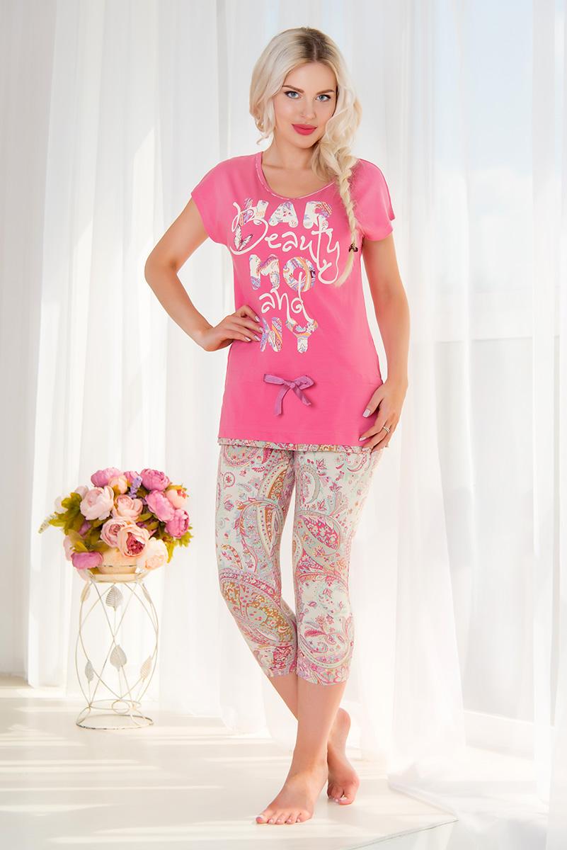 Комплект домашний женский Mia Cara: футболка, капри, цвет: розовый, бежевый. SS16-MCUZ-305. Размер 46/48SS16-MCUZ-305Женский домашний комплект Mia Cara включает в себя футболку и капри. Комплект изготовлен из приятного на ощупь высококачественного эластичного хлопка. Капри дополнены широкой эластичной резинкой на поясе и украшены красочным принтом.Футболка с короткими цельнокроеными рукавами и круглым вырезом горловины украшена надписью Beauty and Harmony и дополнена шнурком-кулиской на талии. Российский бренд Mia Cara с итальянским темпераментом воплотил в своей продукции традиционное европейское качество, ультрамодный дизайн и исключительный комфорт.Эксклюзивные авторские принты и набивные рисунки, разработанные дизайнерами из Милана для торговой марки вызывают восхищение и восторг у самых требовательных женщин, ценящих красоту и удобство!Все полотна, использующиеся для производства одежды, изготовлены из высококачественного хлопка, изделия очень мягкие на ощупь и тактильно приятные. В ткань нежно вплетены специальные волокна эластана, которые позволяют создать прилегающий силуэт и обеспечить комфорт. Вся продукция обладает благородными и стойкими цветами, устойчивыми к воздействиям в процессе использования и стирки.Изделия бесконечно долго имеют безупречный внешний вид, не линяют и не растягиваются.Одежда Mia Cara позволит вам всегда выглядеть эффектно и элегантно, и ежедневно радовать себя и близких.