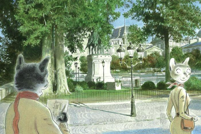 """Открытка """"Когда ты встретишь вдруг ее...."""". Из набора «Парижский Кот-художник». Автор: Андрей Аринушкин"""