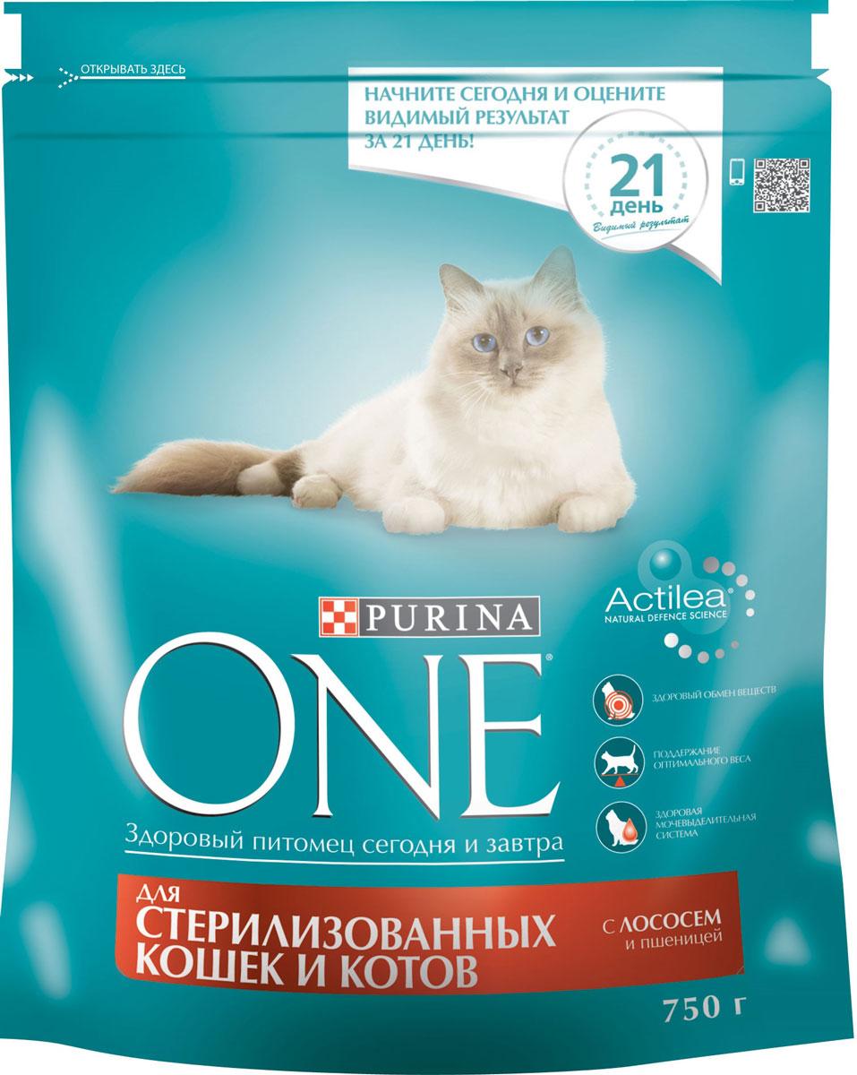 Корм сухой Purina One, для стерилизованных кошек и котов, с лососем и пшеницей, 750 г корм сухой наша марка для привередливых кошек с лососем и рисом 400 г