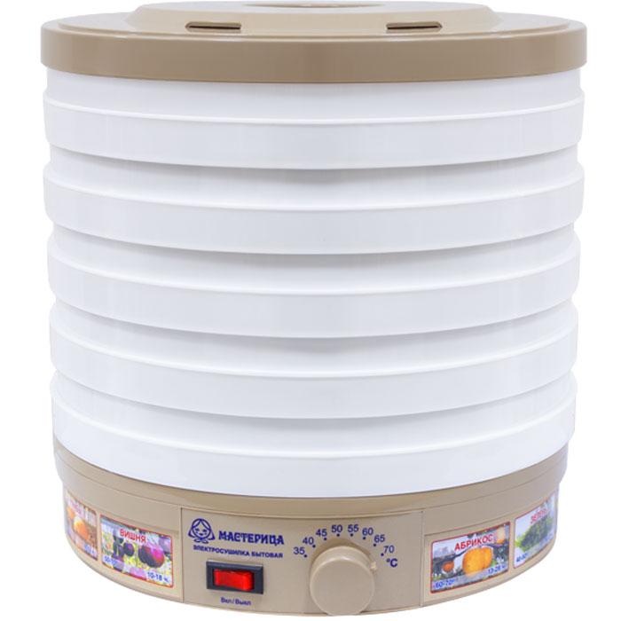 Мастерица ЭСБ-11/18-300, White сушилка для овощейЭСБ-11/18-300Засушивание овощей, фруктов, грибов, зелени - отличная возможность запастись вкуснейшими продуктами назиму, когда как никогда не хватает витаминов. Обеспечить это позволяет сушилка для овощей Мастерица ЭСБ- 11/18-300, имеющая в конструкции 5 поддонов. Объем сушильной камеры находится в пределах от 11 до 18 литров.Прибор прост в управлении и рассчитан на нагрузку до 5 кг.