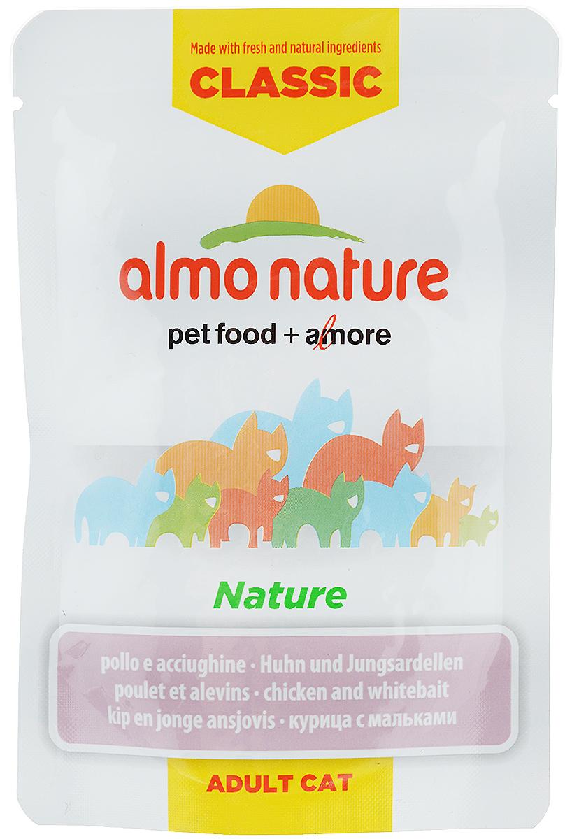Консервы для кошек Almo Nature Classic, с курицей и мальками, 55 г консервы для щенков almo nature classic с курицей 280 г