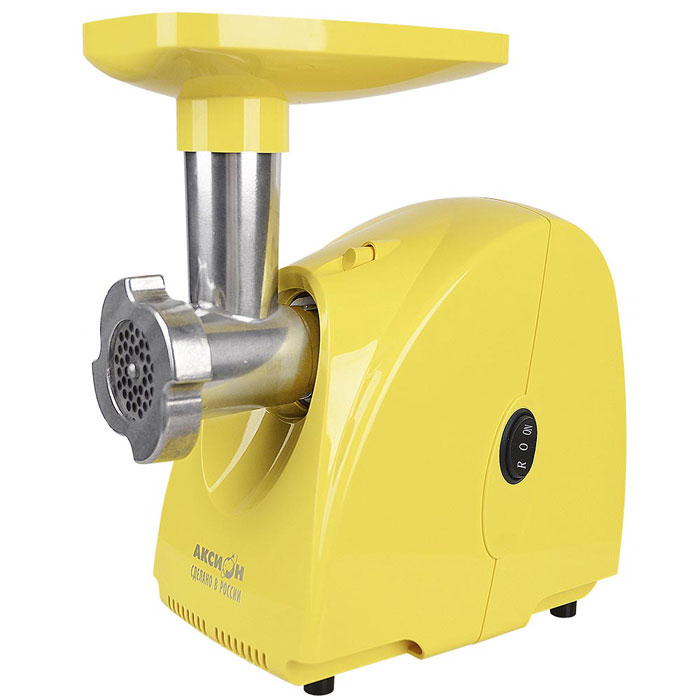 Аксион М 31.01, желтый мясорубкаАксион М 31.01Электрическая мясорубка Аксион М 31.01 имеет функцию реверс, позволяющую кратковременно поворачивать шнек в обратном направлении. В качестве емкости, в которую будет поступать фарш, можно использовать посуду, максимальная высота которой не превышает 11 см. Эргономичная конструкция агрегата предполагает наличие специального отсека для хранения решеток.