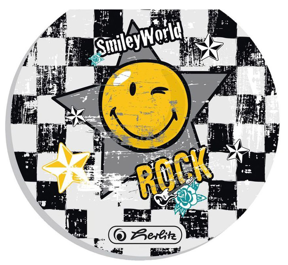 Herlitz Блокнот Smiley World Rock11292422Блокнот Herlitz Smiley World Rock - это незаменимый атрибут современного человека, необходимый для рабочих и школьных записей как в офисе, так и дома. Внутренний склеенный блок гарантирует надежное крепление листов. Блокнот имеет круглую форму и яркийдизайн, дополненный желтым смайлом.Получите ежедневную дозу Рок н ролла с новой дизайнерской серией Smiley World! Клевые и прикольные смайлы, «шахматный» дизайн, а также различные детали рок-культуры, такие как гитары или розы, стилизованные под тату, привлекут внимание любого подростка, особенно в школе.