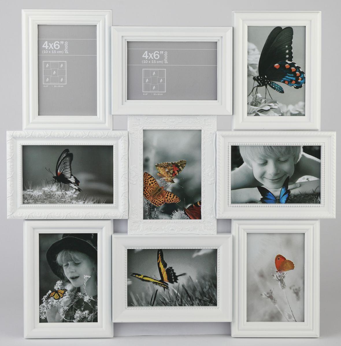 """Фоторамка-коллаж """"Image Art"""" выполнена из прочного пластика. Она состоит из 9 рамок, которые соединены между собой и каждая из которых защищена стеклом. Рамку можно повесит на стену. Такая рамка не только позволит сохранить на память изображения дорогих вам людей и интересных событий вашей жизни, но и стильно украсит интерьер помещения.  Общий размер рамки: 53 х 53 см. Размер фотографий: 10 х 15 см."""