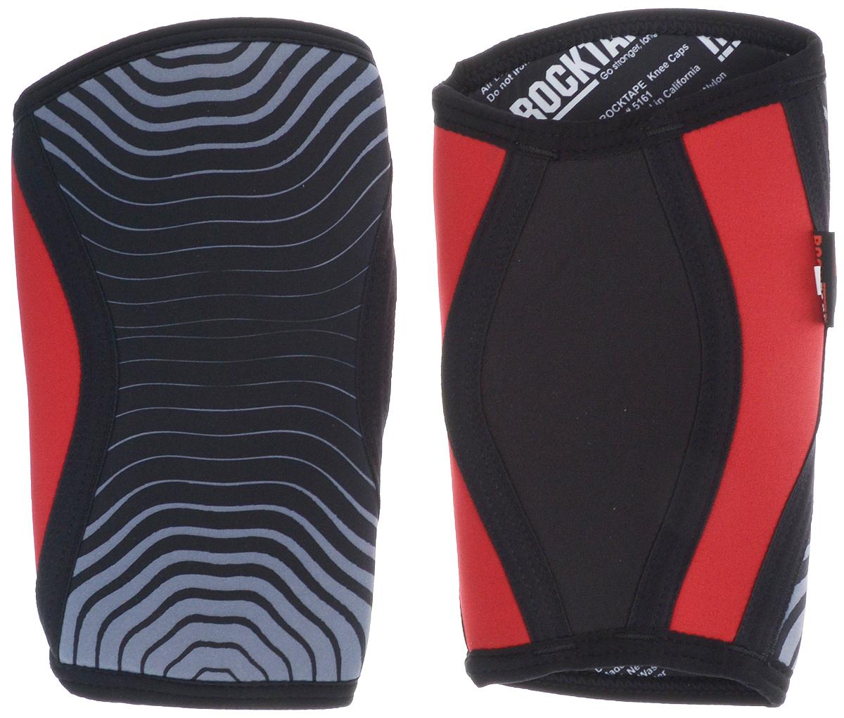 Наколенники Rocktape KneeCaps, цвет: красный, серый, черный, толщина 5 мм, 2 шт. Размер SRTKnCps-Rd-5-SRocktape KneeCaps - это компрессионные наколенники для тяжелой атлетики/CrossFit. Наколенники созданы специально, чтобы обеспечить компрессионный и согревающий эффект, а также придать стабильность коленному суставу для выполнения функциональных движений, таких как становая тяга, пистолет, приседания со штангой.В отличие от аналогов, наколенники Rocktape KneeCaps более высокие и разработаны специально для компрессии VMO (косой медиальной широкой мышцы бедра) в месте ее прикрепления над коленной чашечкой, чтобы обеспечить надлежащую стабилизацию колена и контроль. Помимо стабилизации, они создают компрессионный и согревающий эффект, что улучшает кровоток.Толщина: 5 мм.Обхват колена: менее 29 см.