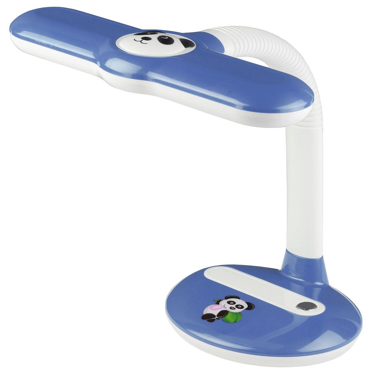Настольный светильник ЭРА Панда. NL-252-G23-11W-BU, цвет: синийNL-252-G23-11W-BUСветильник предназначен для использования с энергосберегающей лампой, которая обеспечивает экономию электроэнергии до 70%. Лампа входит к комплект.Выключатель на основании.Направление света регулируется гибкой стойкой, которая обеспечивает поворот плафона в любом направлении под любым углом.Детский дизайн с изображением медвежонка панды на плафоне и основании. Яркие цвета.