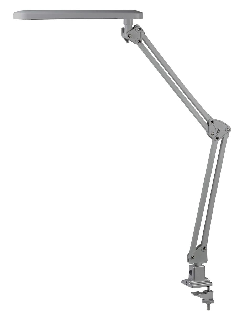 Настольный светильник ЭРА NLED-441-7W-S, цвет: сереброNLED-441-7W-SСветильник со светодиодами (LED) в качестве источников света, которые экономят до 90% электроэнергии и не требуют замены на протяжении всего срока службы светильника.Модель на струбцине.Выключатель на панели со светодиодами.Высота плафона регулируется двухсекционной сгибающейся стойкой, направление света регулируется поворотом плафона в любом направлении.Теплый свет, аналогичный свету лампы накаливания - цветовая температура 3000К (теплый белый свет).
