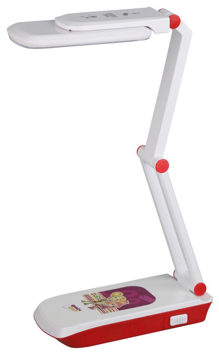 Настольный светильник ЭРА Фиксики. NLED-423-3W-R, цвет: красныйNLED-423-3W-RСветильник со светодиодами (LED) в качестве источников света, которые экономят до 90% электроэнергии и не требуют замены на протяжении всего срока службы светильника.Дизайн светильника и упаковка в тематике мультсериала Фиксики.Аккумулятор для автономной работы, два режима - максимальная яркость и приглушенный свет.Съемный сетевой шнур в комплекте.Складная конструкция - стойка в два сложения, панель с SMD LED вращается относительно стойки и может разворачиваться поперек плафона.Выключатель на основании.Теплый свет, аналогичный свету лампы накаливания - цветовая температура 3000К.