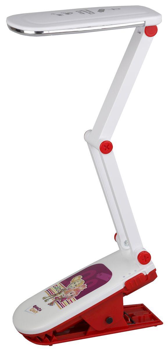 Настольный светильник ЭРА Фиксики. NLED-424-2.5W-R, цвет: красныйNLED-424-2.5W-RСветильник со светодиодами (LED) в качестве источников света, которые экономят до 90% электроэнергии и не требуют замены на протяжении всего срока службы светильника.Дизайн светильника и упаковка в тематике мультсериала Фиксики.Аккумулятор для автономной работы, два режима - максимальная яркость и приглушенный свет.Съемный сетевой шнур в комплекте.Модель на прищепке.Выключатель на основании.Теплый свет, аналогичный свету лампы накаливания - цветовая температура 3000К.