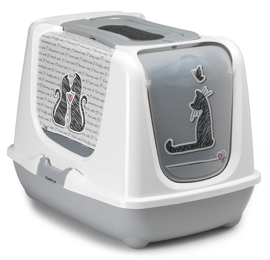 Туалет для кошек Moderna Trendy Cat. Влюбленные кошки, закрытый, цвет: белый, серый, 57 х 45 х 42,6 см14C245026Закрытый туалет для кошек Trendy Cat. Влюбленные кошки выполнен из высококачественного пластика. Туалет оснащен прозрачной открывающейся дверцей, сменным фильтром и удобной ручкой для переноски. Такой туалет избавит ваш дом от неприятного запаха и разбросанных повсюду частичек наполнителя. Кошка в таком туалете будет чувствовать себя увереннее, ведь в этом укромном уголке ее никто не увидит. Кроме того, яркий дизайн с легкостью впишется в интерьер вашего дома. Туалет легко открывается для чистки благодаря практичным защелкам по бокам.