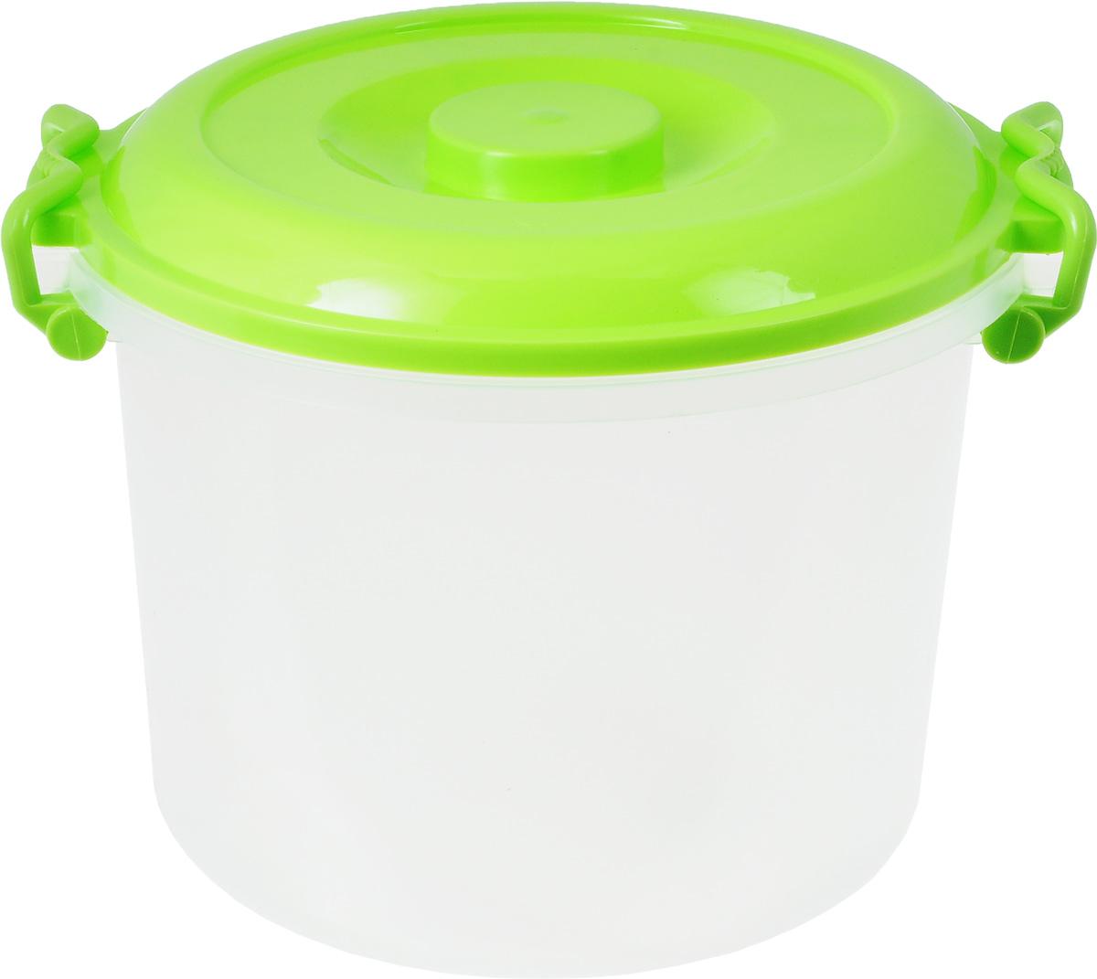 """Контейнер """"Альтернатива"""" изготовлен из высококачественного  пищевого  пластика. Изделие оснащено крышкой и ручками, которые плотно  закрывают  контейнер. Также на крышке имеется ручка для удобной  переноски. Емкость  предназначена для хранения различных бытовых вещей и  продуктов.  Такой  контейнер очень функционален и всегда пригодится на кухне.    Диаметр контейнера (по верхнему краю): 25 см.  Высота контейнера (без учета крышки): 21 см.  Объем: 8 л."""