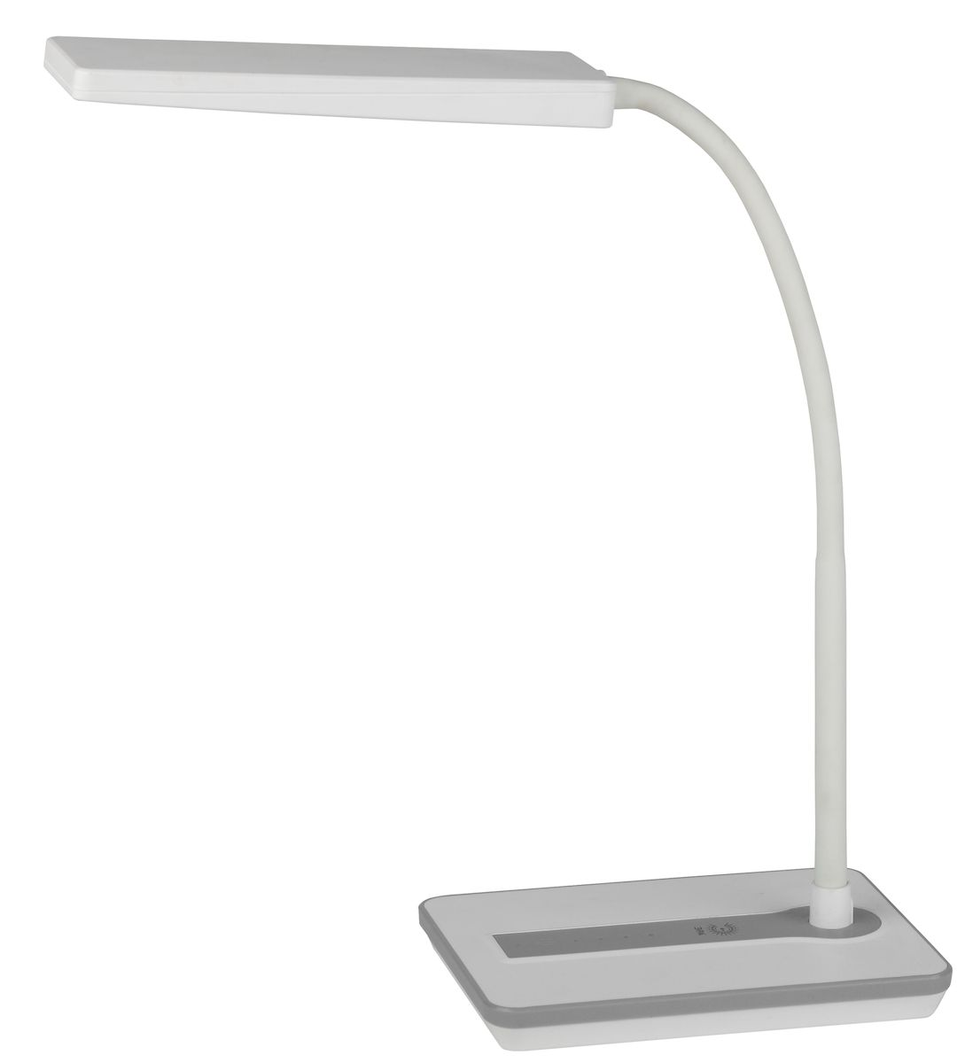 Светильник со светодиодами (LED) в качестве источников света, которые экономят до 90% электроэнергии и не требуют замены на протяжении всего срока службы светильника.Сенсорный переключатель на основании.Четырехступенчатый диммер для регулировки яркости.Высота плафона регулируется гибкой стойкой, направление света регулируется поворотом плафона в любом направлении.Теплый свет, аналогичный свету лампы накаливания - цветовая температура 3000К.