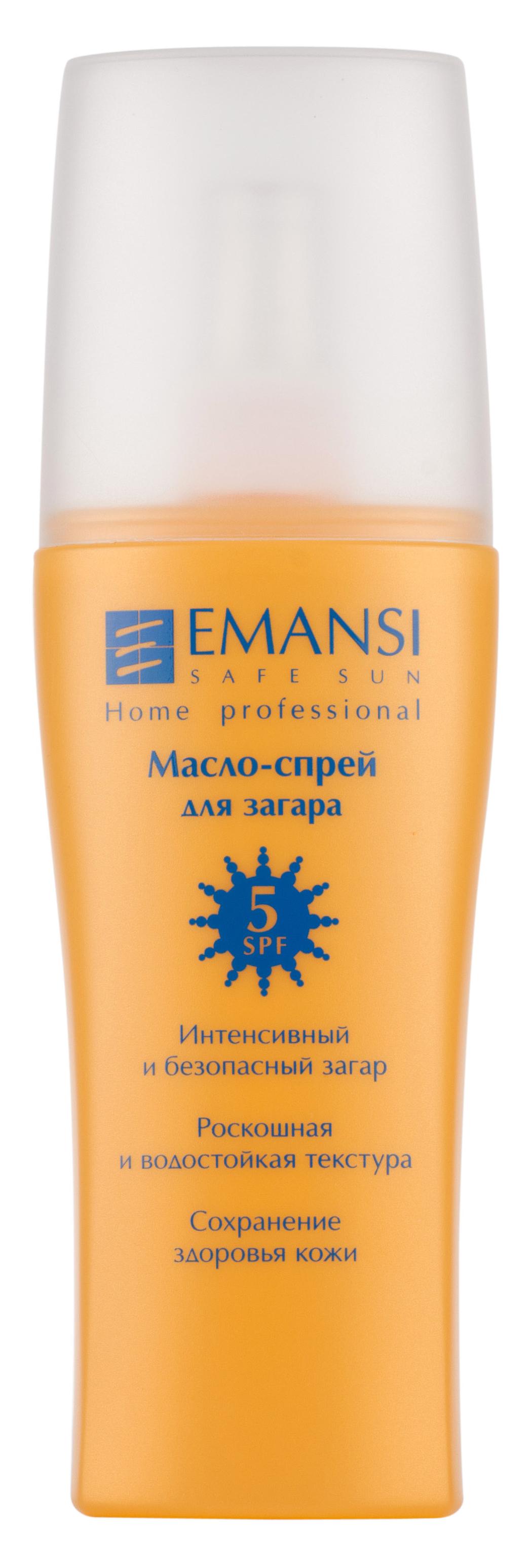 Emansi Масло-спрей для загара Safe sun SPF 5, 150 мл3328 - Интенсивный и безопасный загар- Роскошная и водостойкая текстура- Сохранение здоровья кожи- Специальный состав, включающий СО2 экстракт зверобоя, способствуют более быстрому и ровному загару- Устойчиво к действию воды и пота- Подходит для любой, в том числе и чувствительной кожи