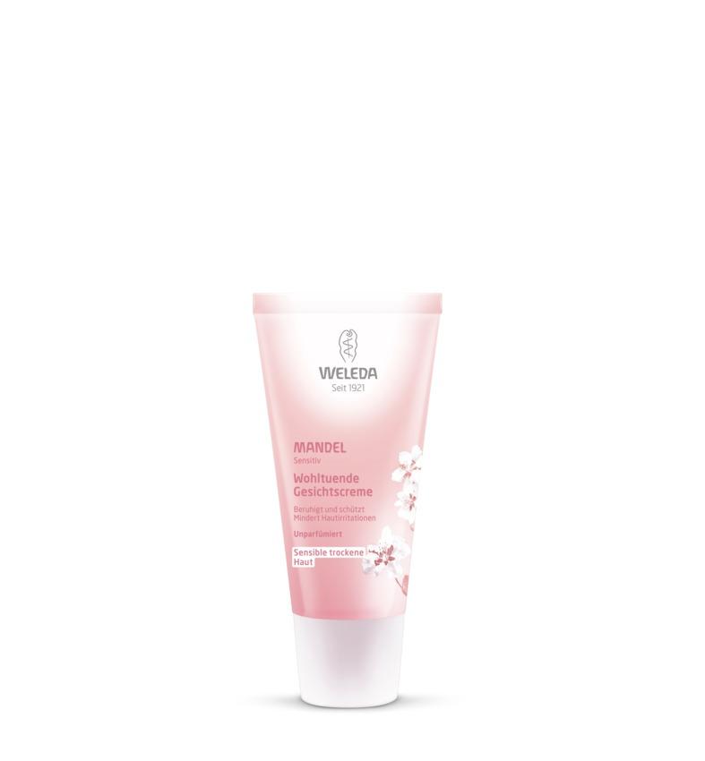 Weleda Крем-уход для лица Миндальный, деликатный, питающий, 30 мл8600Нежный крем Weleda Mandel, специально созданный для ухода за чувствительной сухой кожей, интенсивно питает и увлажняет кожу. Идеально подходит для дневного и ночного применения. Надежно защищает кожу от негативного воздействия окружающей среды, обладает противовоспалительным действием. Моментально восстанавливает баланс раздраженной кожи. Кожа становится естественно здоровой.100% натуральный состав. Характеристики:Объем: 30 мл. Размер упаковки: 11 см х 4 см х 3 см. Производитель: Германия. Артикул: 8600. Товар сертифицирован.