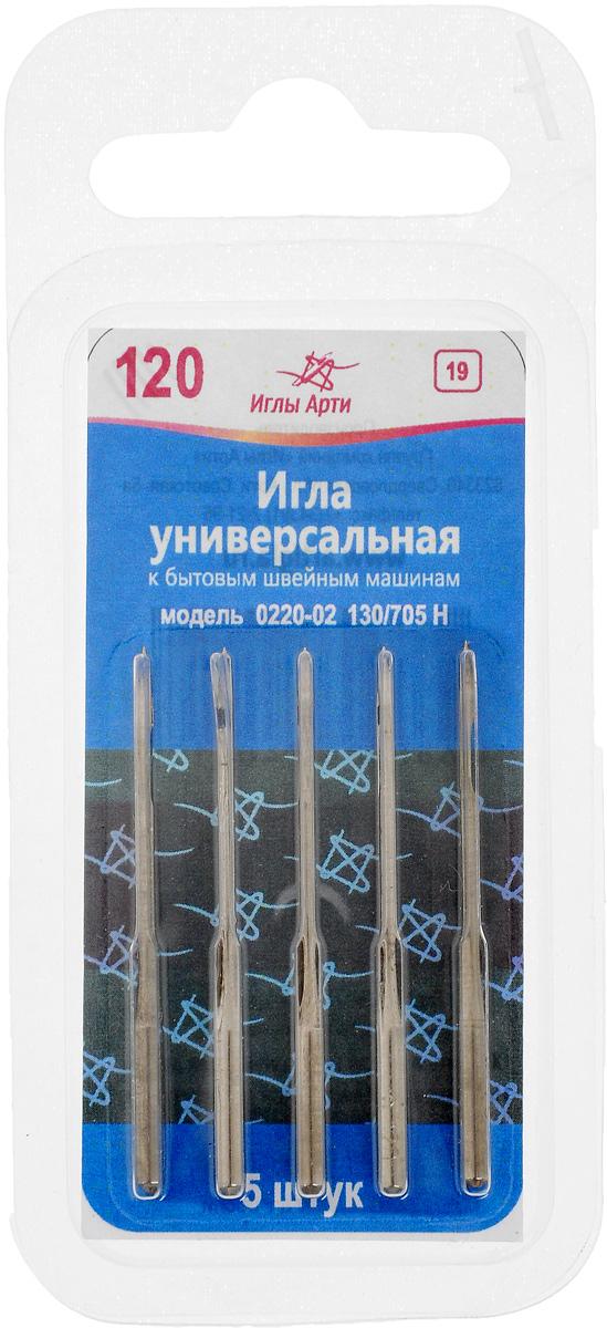 Иглы для швейных машин Иглы Арти, универсальные, №120, 5 шт цена
