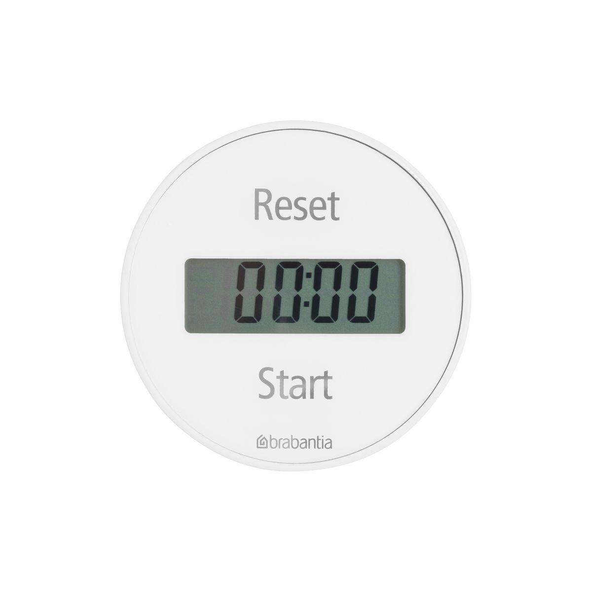 Таймер кухонный Brabantia, цвет: белый. 103681103681Два в одном – таймер и секундомер.Легко устанавливается с помощью внешнего кольца – просто поверните.Удобное крепление – на магните.В комплект входит батарейка.