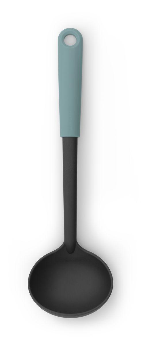 Ложка разливная Brabantia Tasty Colours, цвет: мятный. 106125106125Половник с длинной ручкой поможет аккуратно разлить суп по тарелкам.Имеет длительный срок службы – высококачественный огнеупорный нейлон (макс. 220°C).Не царапает посуду с антипригарным покрытием – эластичный пластик и сглаженные формы.Подходит для мытья в посудомоечной машине.Удобно хранить – петелька для подвешивания.