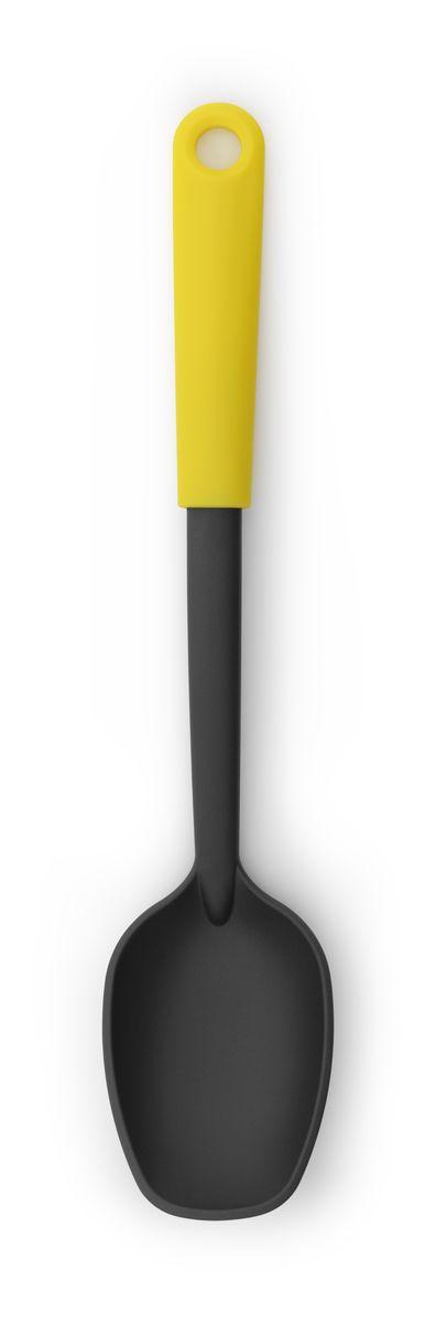 Ложка поварская Brabantia Tasty Colours, цвет: желтый. 106163106163Ложка отлично подходит для выкладывания овощей, картофеля фри и т.п. Имеет длительный срок службы – высококачественный огнеупорный нейлон (макс. 220°C). Не царапает посуду с антипригарным покрытием – эластичный пластик и сглаженные формы. Подходит для мытья в посудомоечной машине. Удобно хранить – петелька для подвешивания.