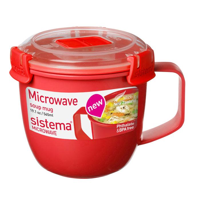 Кружка суповая Sistema MICROWAVE мл1142Кружка суповая Microwave создана для людей ведущих активный образ жизни. Кружка, с надежной защитой от протечек, позволит взять с собой горячий суп на пикник, в офис или в поездку. На крышке имеется силиконовая прокладка, который способствует герметичному закрыванию. Контейнер оснащен фиксирующимися зажимами – клипсами, которые при необходимости можно заменить. Можно мыть в посудомоечной машине.