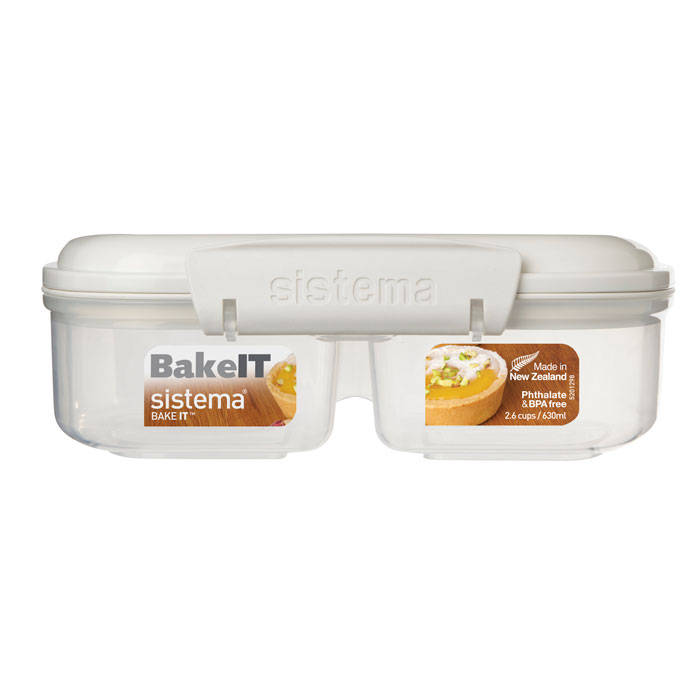 Контейнер двойной Sistema Bake-It, цвет: прозрачный, серый, 630 мл