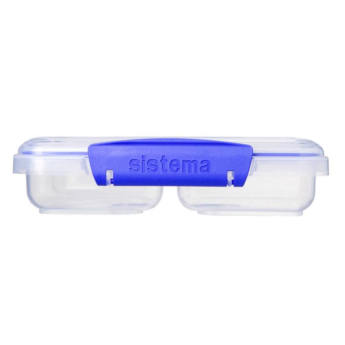 Контейнер двойной Sistema Klip It, цвет: прозрачный, синий, 350 мл1517Двойной контейнер Sistema Klip It предназначен для хранения различных продуктов. Крышка с силиконовой прокладкой герметично закрывается, что помогает дольше сохранить полезные свойства продуктов. Контейнер оснащен фиксирующимися зажимами – клипсами, которые при необходимости можно заменить. Можно мыть в посудомоечной машине. Объем: 350 мл.