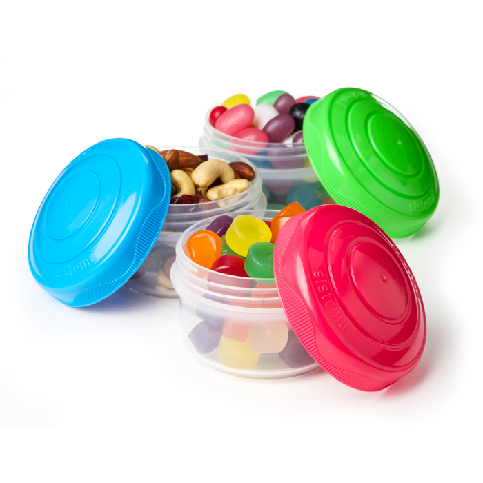Набор мини-контейнеров Sistema To Go, 130 мл, цвет: салатовый, голубой, розовый, 3 шт sistema солонка и перечница to go 35 мл 6 5х3 4х7 2 см 2 шт