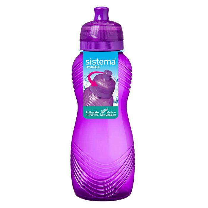Бутылка для воды Sistema Hydrate, цвет: фиолетовый, 600 мл600Стильная бутылка для воды Sistema Hydrate, изготовленная из пластика, оснащена крышкой, которая плотно и герметично закрывается. Широкое отверстие позволяет удобно наливать жидкость и добавлять лед. Бутылка оснащена просто открывающимся и, в то же время, надежным защитным клапаном. Подходит для велосипедных держателей.