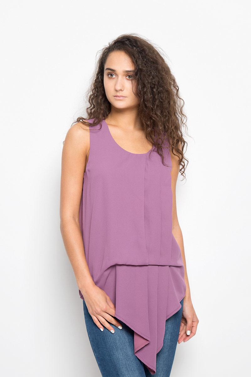Блузка женская Mexx, цвет: лиловый. MX3002114_WM_BLS_011. Размер S (42/44)MX3002114_WM_BLS_011Красивая блузка Mexx займет достойное место в вашем гардеробе. Модель выполнена из легкого материала, приятная на ощупь, хорошо пропускает воздух.Блузка с круглым вырезом горловины застегивается сзади на пуговицу. Низ модели фигурный. Изделие декорировано тремя крупными складками. Блузка поможет создать оригинальный женственный образ!