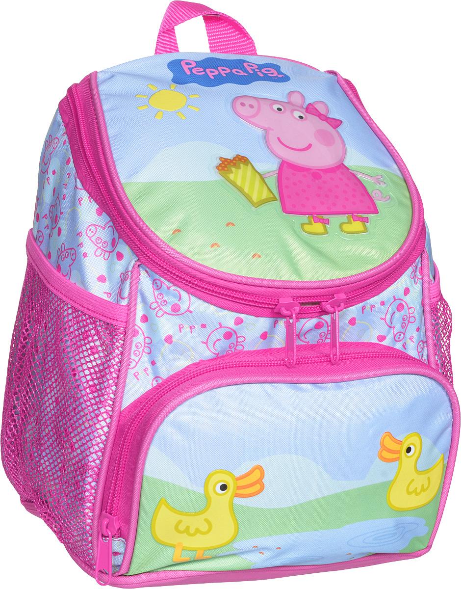 Peppa Pig Рюкзак дошкольный Пеппа и уточкаRB-628-4/3Милый дошкольный рюкзачок от Peppa Pig Пеппа и уточка - обязательно понравится каждой юной любительнице этого популярного мультфильма. Рюкзак выполнен из прочного полиэстера и водонепроницаемой ткани, украшен привлекательным принтом с изображением свинки Пеппы и уточки. Рюкзак имеет одно внутреннее отделение на молнии, регулируемые лямки, специальную ручку для размещения на вешалке, лицевой карман на молнии и два сетчатых боковых кармашка на резинке.Таким образом, рюкзак будет с вашей малышкой на протяжении многих лет. Порадуйте свою малышку таким замечательным подарком!