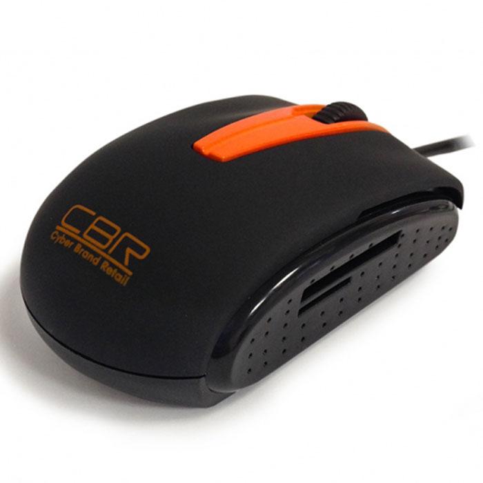CBR CM 344 мышьCM 344CBR CM 344 - это два устройства в одном: компьютерная мышь и картридер. Как мышь CBR CM 344 имеет самое современное техническое оснащение - оптический сенсор с разрешением 1200 dpi, колесо прокрутки с функцией нажатия. Как картридер устройство поддерживает основные типы карт SD, mini SD, micro SD, T-flash и другие, достигая впечатляющей скорости обмена данными в 48 Мб/сек.CBR CM 344 станет отличным спутником во всех поездках - во-первых, благодаря своим компактным размерам, а во-вторых, потому что не только мышь, но и картидер всегда будет под рукой, и в-третьих, потому что в вашем ноутбуке будет задействован только один USB-порт. В дизайне устройства используется классическое сочетание черного и оранжевого, покрытие софт-тач и глянцевые боковые вставки сперфорацией для более уверенного обхвата.