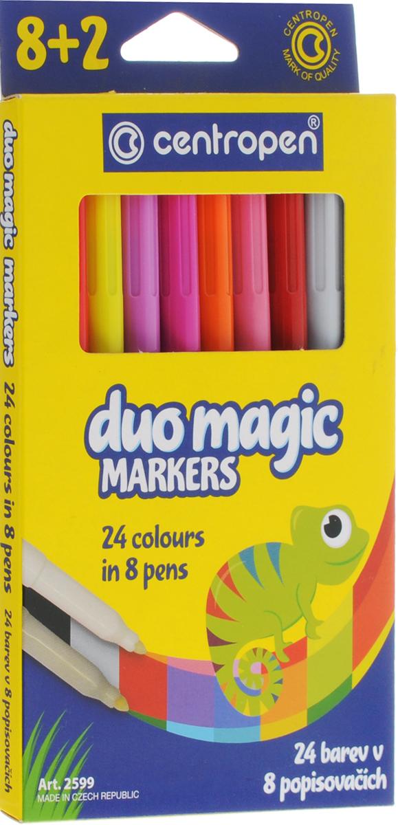 Centropen Набор перекрашивающих фломастеров Duo Magic 8 шт2599_8Набор перекрашивающих фломастеров Centropen Duo Magic наполнен магическими чернилами, которые изменяют цвет после перекрашивания поглотителем чернил.Таким образом, из одного набора (8 фломастеров и 2 поглотителя чернил) вы получите 24 цвета. Расцветка корпуса фломастеров соответствует цвету находящихся в них чернил, а колпачки маркеров имеют цвет, который получится в результате перекрашивания.