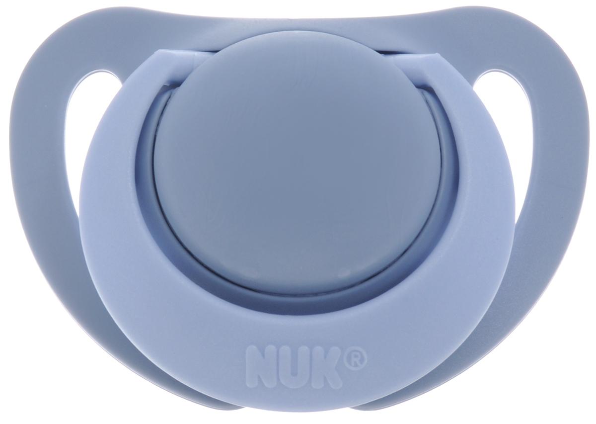 Фото NUK Пустышка силиконовая ортодонтическая Genius от 0 до 2 месяцев цвет серо-голубой