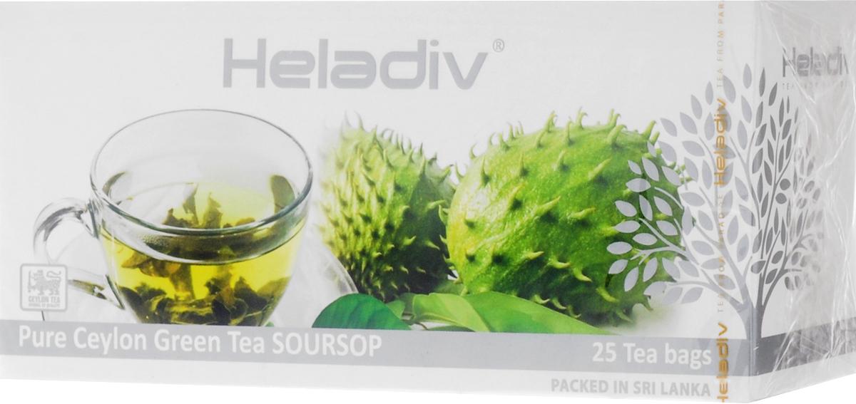 цены Heladiv Peko Soursop Green Tea чай зеленый в пакетиках с ароматом саусепа, 25 шт