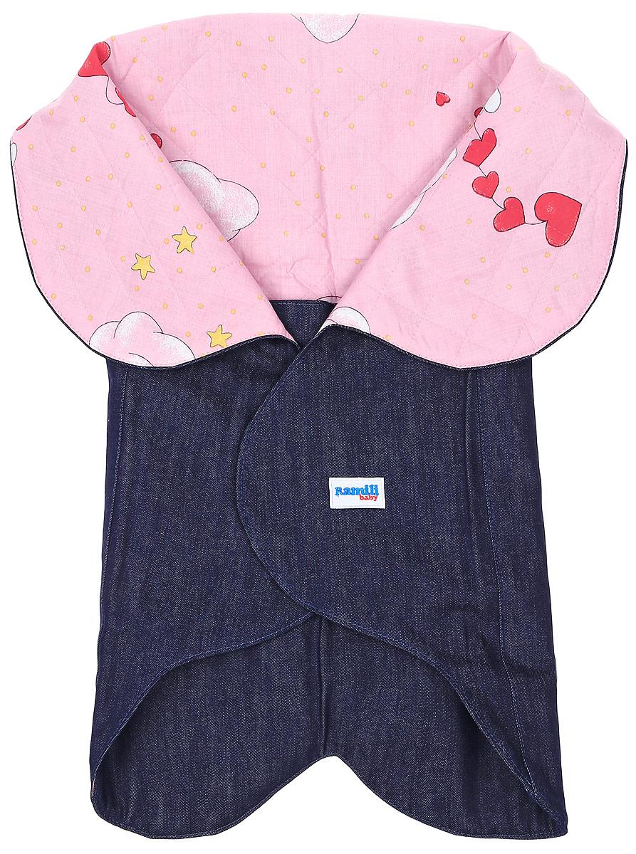 Конверт для новорожденного Ramili Denim Style, цвет: темно-синий, розовый. KRDS02. Размер 0/6 месяцевKRDS02Конверт-лепесток для новорожденного Ramili Denim Style станет замечательным дополнением к детскому гардеробу. Снаружи конверта используется высококачественная джинсовая ткань, внутри - хлопок на мягком утеплителе. Материал тактильно приятный, не раздражает нежную кожу ребенка. На конверте предусмотрен карман для ножек малышки, который фиксируется на застежки-кнопки. Верхняя часть конверта с помощью кнопок образует капюшон. Изделие легко раскладывается, благодаря чему его можно использовать в качестве коврика для пеленания или игр. Застежки в виде липучек и кнопок позволяют быстро зафиксировать конверт и обеспечивают надежное облегание, которое не ограничивает движения ребенка и подарит ему чувство тепла, комфорта и защищенности. Модель оформлена с внутренней стороны принтом с изображением забавных медвежат, с внешней украшена фирменной нашивкой. Многофункциональный и удобный конверт идеально подойдет для первых месяцев жизни младенца. В таком современном конверте маленькая принцесса будет выглядеть очень стильно.