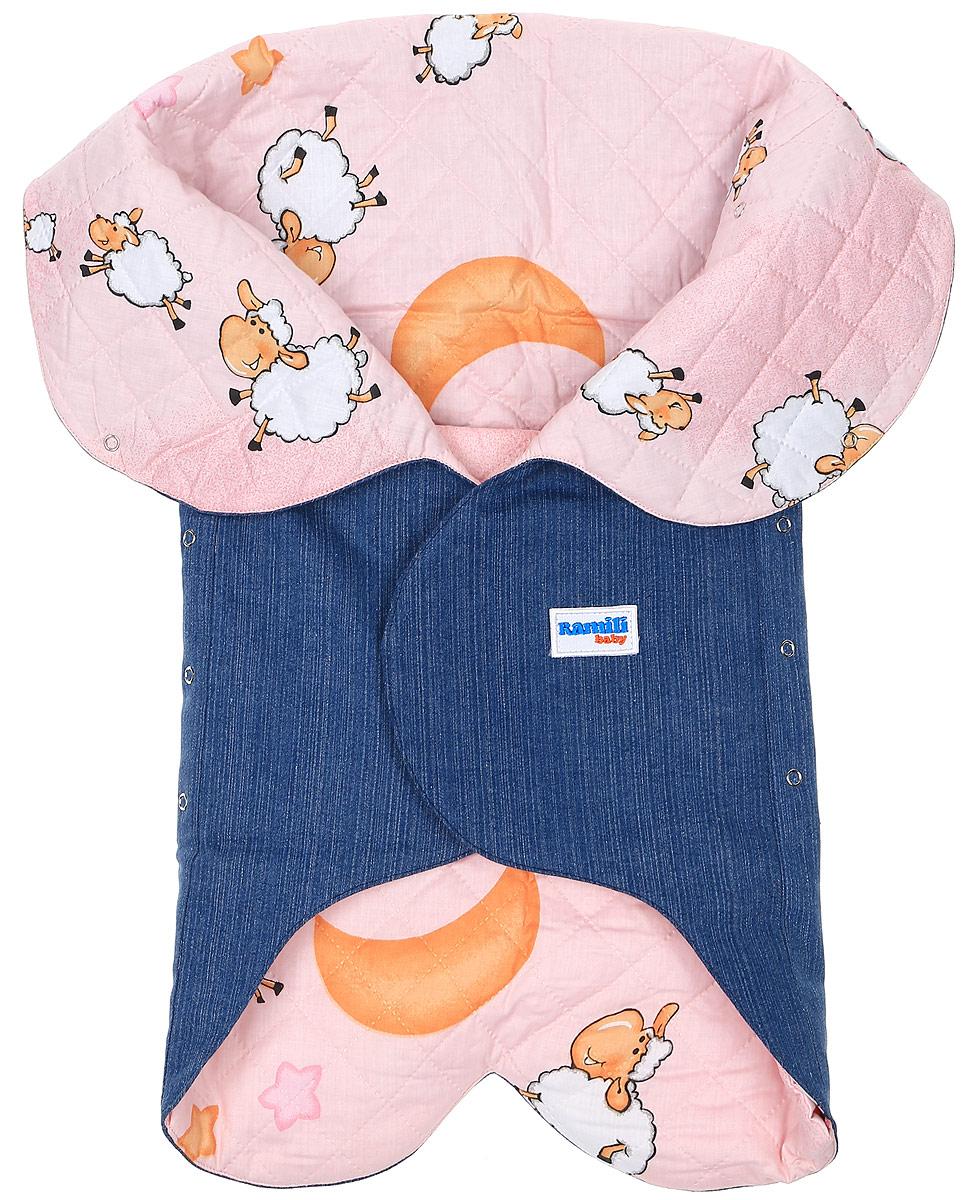 Конверт для новорожденного Ramili Denim Style, цвет: синий, розовый. KRLDS02. Размер 0/6 месяцевKRLDS02Конверт-лепесток для новорожденного Ramili Denim Style станет замечательным дополнением к детскому гардеробу. Снаружи конверта используется высококачественная джинсовая ткань, внутри - хлопок на мягком утеплителе. Материал тактильно приятный, не раздражает нежную кожу ребенка. На конверте предусмотрен карман для ножек малышки, который фиксируется на застежки-кнопки. Верхняя часть конверта с помощью кнопок образует капюшон. Изделие легко раскладывается, благодаря чему его можно использовать в качестве коврика для пеленания или игр. Застежки в виде липучек и кнопок позволяют быстро зафиксировать конверт и обеспечивают надежное облегание, которое не ограничивает движения ребенка и подарит ему чувство тепла, комфорта и защищенности. Модель оформлена с внутренней стороны принтом с изображением забавных овечек, с внешней украшена фирменной нашивкой. Многофункциональный и удобный конверт идеально подойдет для первых месяцев жизни младенца. В таком современном конверте маленькая принцесса будет выглядеть очень стильно.