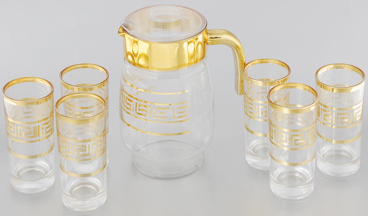 Набор питьевой Loraine, 7 предметов24063Набор питьевой Loraine состоит из 6 стаканов и кувшина с пластиковой крышкой. Изделия выполнены из высококачественного прозрачного стекла и декорированы золотистым греческим орнаментом. Набор прекрасно подходит для сока, воды, лимонада и других напитков. Посуда Loraine обладает не только высокими техническими характеристиками, но и красивым эстетичным дизайном. Loraine - это современная, красивая, практичная столовая посуда. Не подходит для мытья в посудомоечной машине. Объем кувшина: 1,5 л. Диаметр кувшина по верхнему краю: 10 см. Высота кувшина (без учета крышки): 20,5 см. Объем стакана: 260 мл. Диаметр стакана по верхнему краю: 6 см. Высота стакана: 13,5 см.