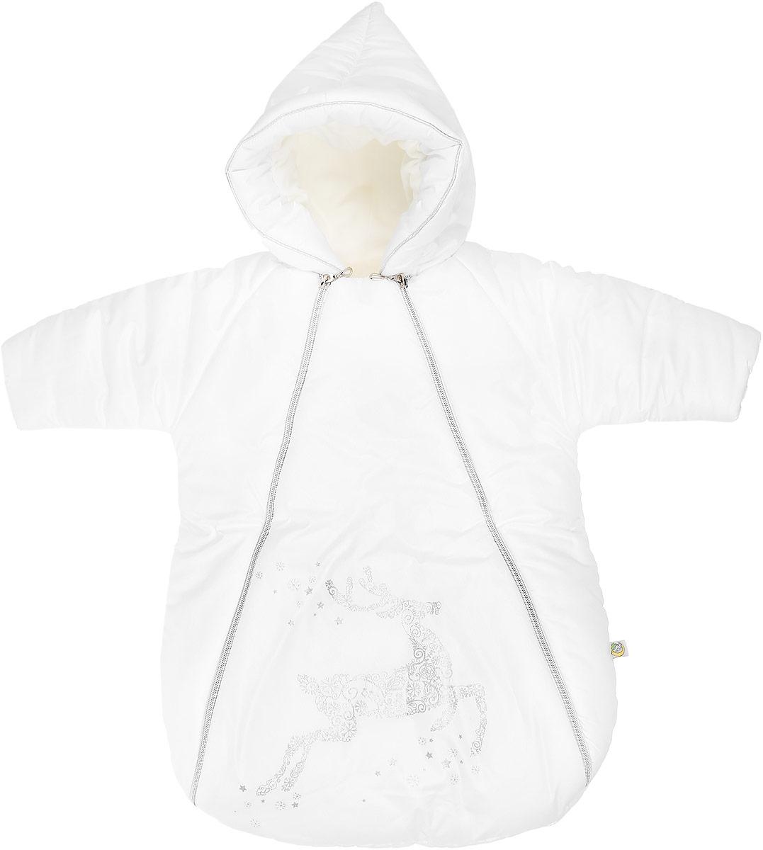 Конверт для новорожденного Сонный Гномик Созвездие, цвет: белый. 988/0. Размер 74988/0Зимний конверт для новорожденного Сонный Гномик Созвездие порадует даже самых требовательных мам и согреет малыша в холодную погоду. Конверт изготовлен из специальной синтетической ткани Dewspo (100% полиэстер), которая защищает от дождя и ветра. Меховая подкладка выполнена из шерсти с добавлением полиэстера. В качестве утеплителя используется шелтер (100% полиэстер).Шелтер (Shelter) - утеплитель, состоящий из микроволокон, удачно сочетает непревзойденное тепло натурального пуха и лучшие качества синтетических материалов. Его уникальность состоит в особенности структуры, повторяющей пух. Ультратонкие волокна делают утеплитель мягким, позволяющим ребенку активно двигаться. Утеплитель шелтер максимально защищает от холода, не стесняя движений, позволяя телу дышать. Конверт легко стирается в домашних условиях, быстро сохнет и сохраняет форму. Конверт с несъемным капюшоном и рукавами-реглан закрывается при помощи двух пластиковых молний и клапана на застежке-липучке. Капюшон присборен по краю на эластичную резинку. Внутренняя сторона капюшона отделана мягким материалом для большего комфорта. На рукавах предусмотрены трикотажные манжеты, защищающие от ветра. Подкладка рукавов выполнена из теплого флиса. Оформлено изделие красивым принтом с блестящим напылением. Теплый, комфортный и удобный конверт идеально подойдет для прогулок на свежем воздухе!