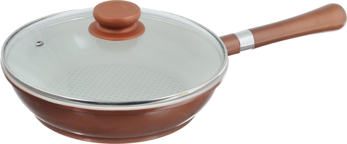 Сковорода Calve с крышкой, с антипригарным покрытием, со съемной ручкой. Диаметр 24 см. CL-1933