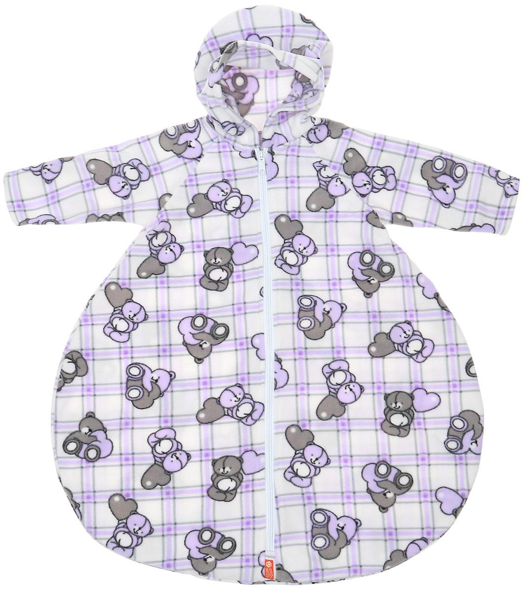 Конверт для новорожденного Чудо-Чадо БыстрОдежка Колокольчик, цвет: белый, сиреневый, серый. КРК05-001. Размер 74 чудо чадо конверт быстродежка колокольчик желт р 0 9 м