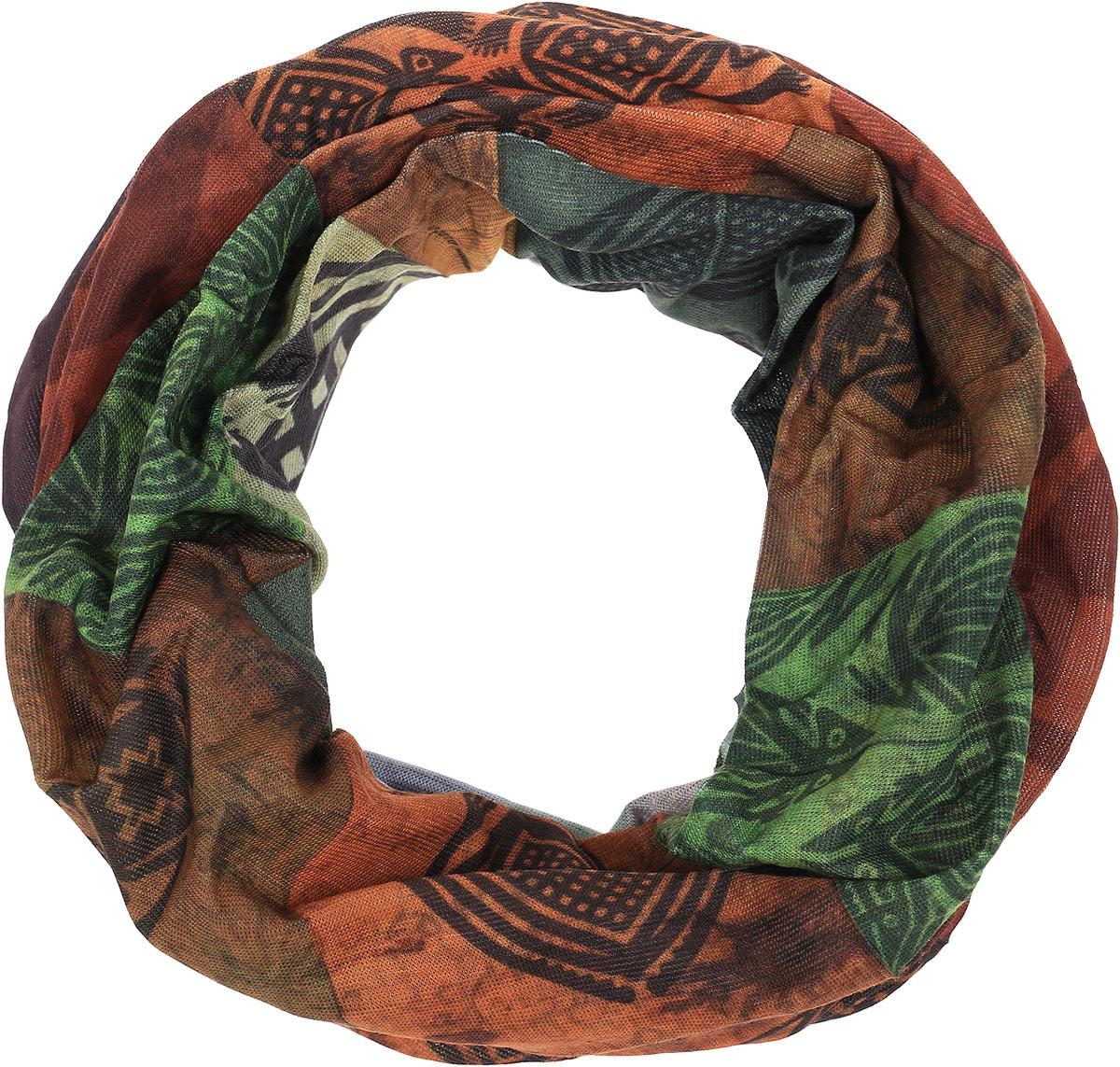Бандана Buff Original Bless, цвет: зеленый, коричневый.100309.00. Размер универсальный100309.00Многофункциональная бандана-трансформер из серииOriginal Bless изготовлена из тончайшего полиэстера в виде трубы. Такую бандану вы можете легко одеть на лицо или превратить в шапку-бандану, маску, повязку на голову или надеть бандану на шею. При надевании банданы на голову ее не нужно завязывать. Бесшовная бандана-труба оформлена ярким принтом и логотипом бренда.Данный тип спортивных бандан является самым универсальным, и может использоваться в любое время года.