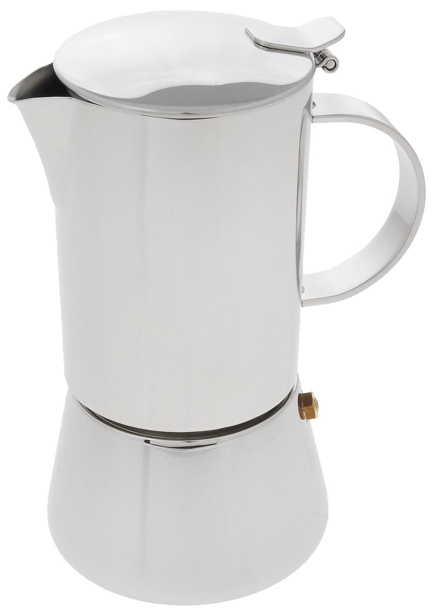 Эспрессо-кофеварка гейзерного типа BergHOFF, 240 мл1106916Эспрессо-кофеварка BergHOFF, выполненная из высококачественной нержавеющей стали 18/10, работает по принципу прохождения воды через слой молотого кофе под давлением пара. Благодаря нержавеющей стали, кофе долго остается горячим. Внешняя сторона имеет зеркальную полировку, которая устойчива к образованию налета, царапин или прочих неприятностей ежедневного использования. Кофе - это целая культура, которая сегодня завоевала весь мир, а бельгийская компания BergHOFF - признанный лидер по производству посуды. Именно поэтому кофеварка BergHOFF - лучшее решение для тех, кто в покупке желает сочетать практичность и надежность. А еще это отличная возможность начать утро, с чашечки свежесваренного эспрессо. br>Подходит для всех типов плит, включая индукционные. Можно мыть в посудомоечной машине. Высота эспрессо-кофеварки:17,5 см.Диаметр эспрессо-кофеварки (по верхнему краю): 7,2 см.Диаметр основания: 9 см.Объем: 240 мл.