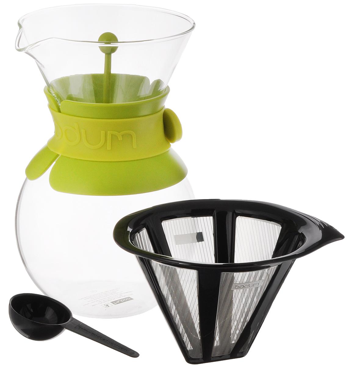 Кофейник Bodum Pour Over, с фильтром и мерной ложкой, цвет: прозрачный, салатовый, 1 л кофейник bodum brazil с прессом цвет белый 1 л