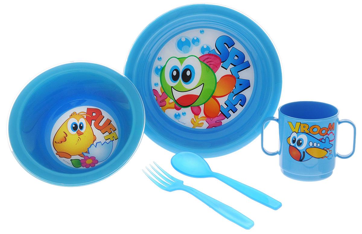 Cosmoplast Набор детской посуды Baby Tris Set Рыбка 5 предметов2390_голубой, рыбка, цыпленокНабор детской посуды Cosmoplast Baby Tris Set. Рыбка состоит из миски, тарелки, чашки с двумя ручками, вилки и ложки. Все предметы набора изготовлены из высококачественного пищевого полипропилена и пластика по специальной технологии, которая гарантирует простоту ухода, прочность и безопасность изделий для детей. Предметы сервиза оформлены красочными рисунками, которые обязательно понравятся вашему малышу.Не содержит бисфенол А.