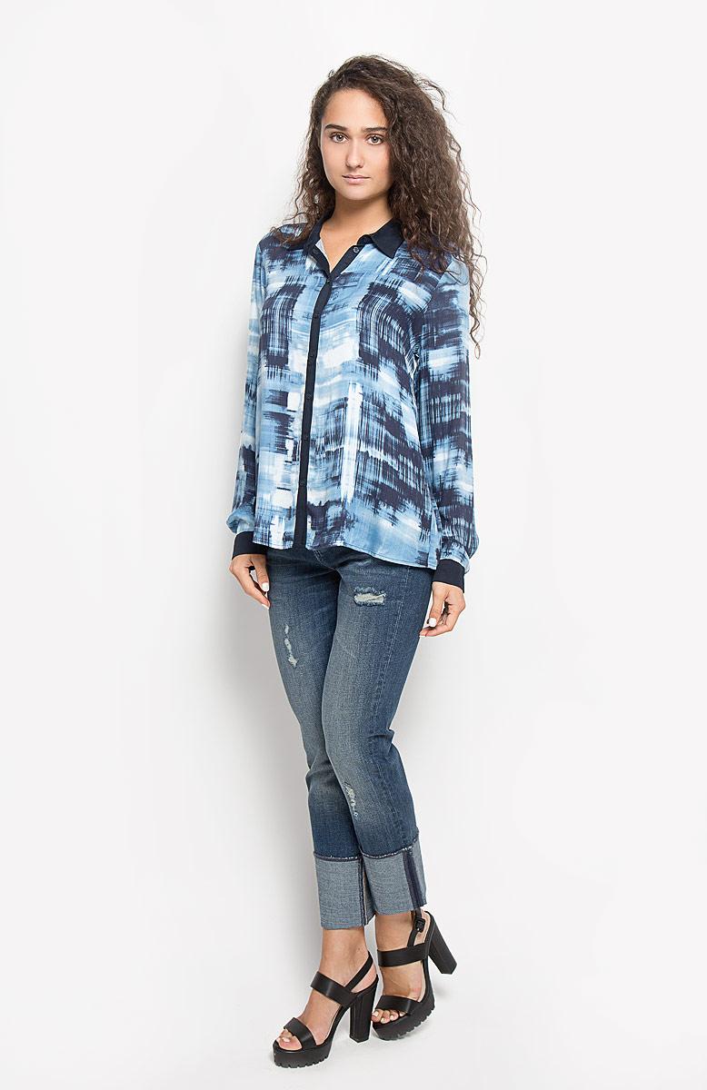 Блузка женская Mexx, цвет: темно-синий, голубой. MX3020878_WM_BLG_002. Размер L (48/50) блузка женская mexx цвет молочный mx3002363 wm blg 010 размер l 48 50