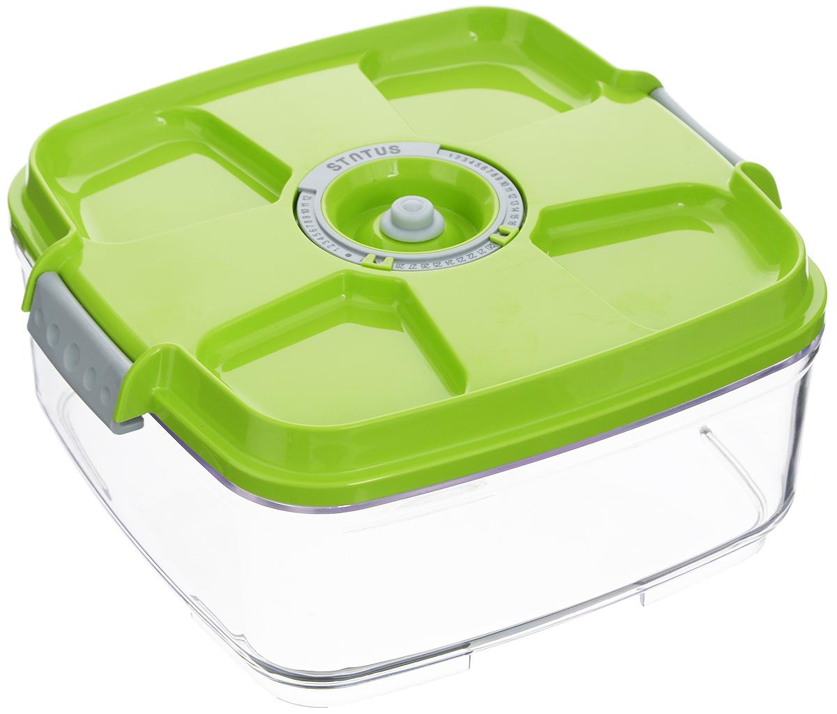 """Вакуумный контейнер """"Status"""" выполнен из  хрустально-прозрачного прочного тритана.  Благодаря вакууму, продукты не подвергаются  внешнему воздействию, и срок хранения  значительно увеличивается, сохраняют свои  вкусовые качества и аромат, а  запахи в холодильнике не перемешиваются.  Допускается замораживание до -21°C, мойка  контейнера в посудомоечной машине, разогрев в  СВЧ (без крышки).  Рекомендовано хранение следующих продуктов:  макаронные изделия, крупа, мука, кофе в зёрнах,  сухофрукты, супы, соусы.  Контейнер имеет индикатор даты, который  позволяет отмечать дату конца срока годности  продуктов. Размер контейнера (с учетом крышки): 22 х 22 х 11 см."""