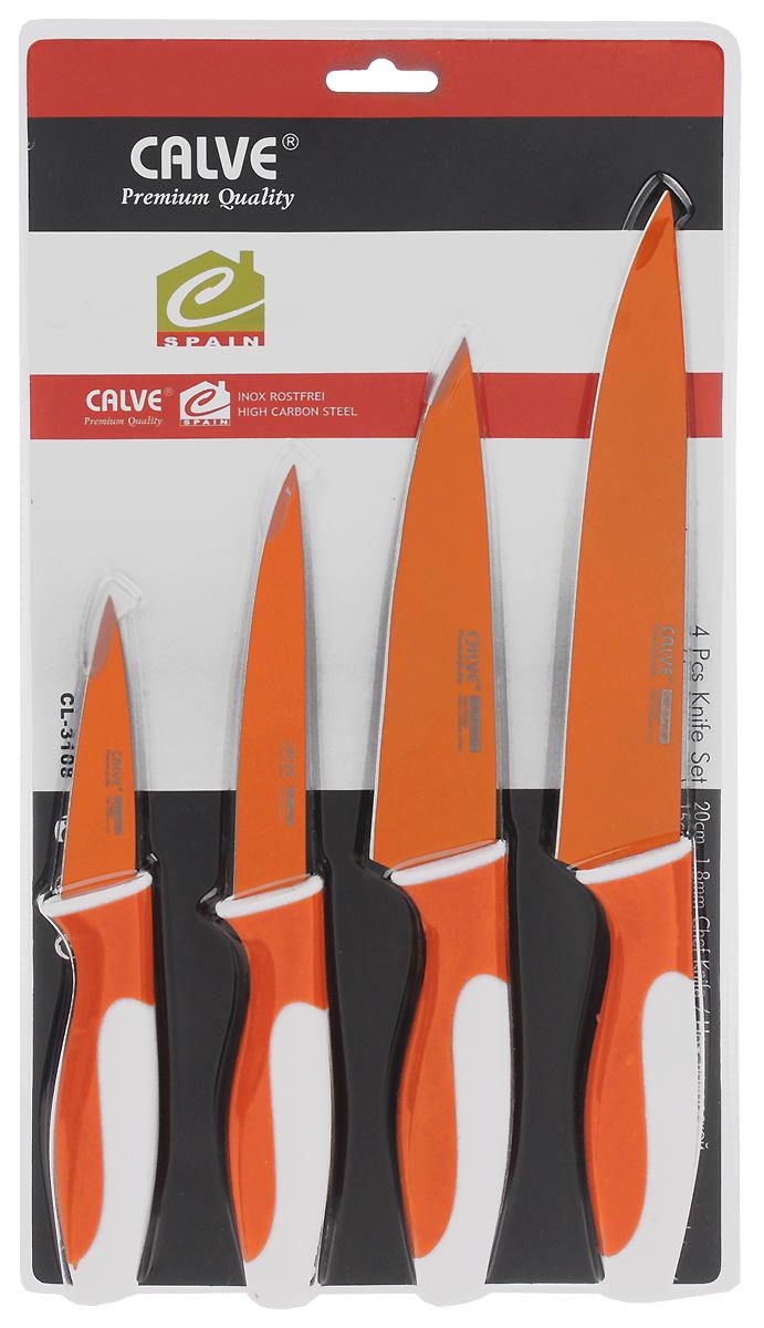 Набор ножей Calve, цвет: оранжевый, белый, 4 шт. CL-3108CL-3108Набор Calve состоит из поварского ножа, восточного ножа, универсального ножа и ножа для чистки и резки. Лезвия изделий выполнены из высококачественной нержавеющей стали. Эргономичные рукоятки изготовлены из пластика. Ножи отвечают высоким стандартам качества и гигиены. Благодаря прочности и надежности они идеально подходят для любой кухни. Можно мыть в посудомоечной машине. Длина лезвия поварского ножа: 19 см. Общая длина поварского ножа: 31,5 см. Длина лезвия восточного ножа: 15 см. Общая длина восточного ножа: 37 см. Длина лезвия ножа универсального: 12,5 см. Общая длина ножа универсального: 24 см.Длина лезвия ножа для чистки и резки: 8,5 см. Общая длина ножа для чистки и резки: 19,5 см.