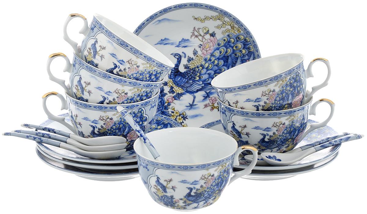 Набор чайный Elan Gallery Павлин на серебре, 18 предметов180688Набор чайный Elan Gallery Павлин на серебре состоит из 6 чашек, 6 блюдец и 6 чайных ложек. Изделия выполнены из высококачественной керамики и декорированы изображением павлинов. Такой набор дополнит сервировку стола к чаепитию. Благодаря изысканному дизайну и качеству исполнения он станет замечательным подарком для ваших друзей и близких. Набор упакован в подарочную коробку, задрапированную белой атласной тканью. Объем чашки: 250 мл. Диаметр чашки (по верхнему краю): 9,5 см. Высота чашки: 6 см. Диаметр блюдца: 15 см.Высота блюдца: 2 см.Длина чайной ложки: 12,5 см.